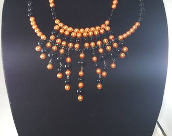 Orange and Black Beaded Statement Necklace