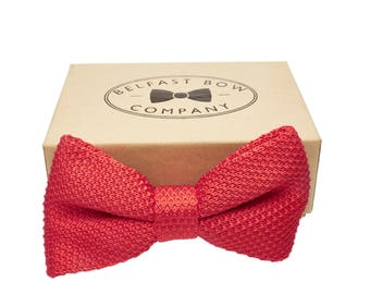 Handmade Knitted Bow Tie in Bright Red