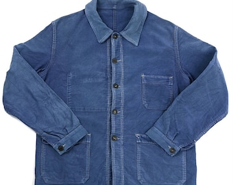 French vintage blue moleskin work jacket/France 1950's/hand-repaired/faded blue/326