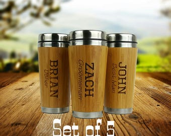 Set of 5 - Groomsmen Gift - Personalized - Stainless Steel Bamboo Coffee Tumbler - Best Man, Groomsman, Father of the Bride