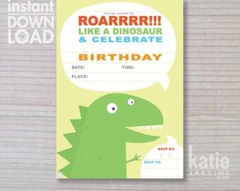 instant invitation - Dinosaur invitation - boys invitation - Dinosaur - childrens invitation  - Dinosaur party - yellow invite