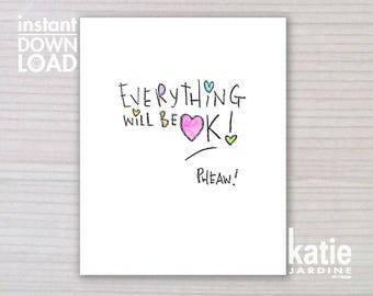 wall art - printable art - 8x10 print - instant art -  freehand text - downloadable art - everything will be ok