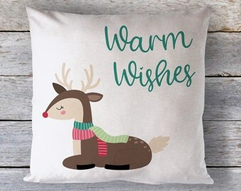 Warm Wishes Holiday Throw Pillow - Christmas Throw Pillow - Decorative Pillow - Home Decor - Christmas Decor - Winter Decor - Reindeer