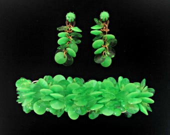 Vintage Bracelet and Clip Earrings, Lime Green Saucer Beads, Drop Earrings, Mid Century Demi Parure, Circa 1960s, Includes Gift Box