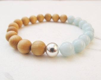 Amazonite bracelet, wooden bracelet, yoga bracelet