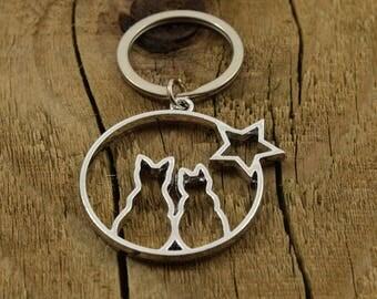 Cat keyring, cat keychain, large cats keyring, friendship gift, star keyring, star keychain, cat lover gift, large silver pendant keyring