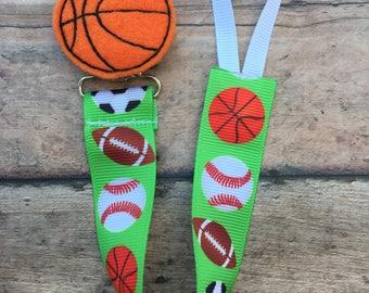 Basketball paci clip - basketball - basketball boy - baby boy paci clip - boy binky clip - boy pacifier holder - Basketball fan - sports fan