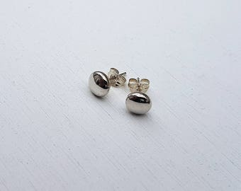 Sterling Silver Minimalist Studs, Flat Ball Stud Earrings, Round Simple Studs