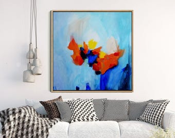 Minimalist Art, Abstract Art Print, Modern Art Print, Abstract Expressionism, Giclee Print, Blue, Orange, yellow, large Wall Art, Home Decor
