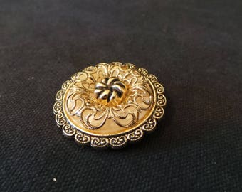 Vintage West Germany Gold Filigree Round Wreath Scarf Clip Brooch