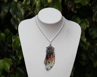 Fancy Autumn Fairy Wing Pendant - Large Gossamer Fairy/Faerie Butterfly Cicada Wing Statement Necklace