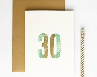 30th Birthday Letterpress Card
