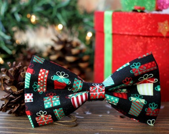 Christmas Presents Bow Tie | Dog Bow Tie | Boys Bow Tie | Mens Bow Tie | Gift for Him | Christmas | Winter | For Him | Christmas Photo