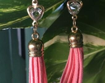 Dangle Earrings, Tassel Earrings, CZ Crystal Earrings, Heart Shaped Earrings, Valentine's Day Earrings, Valentine's Day Gifts, Pink Earrings