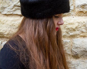 Vintage faux fur black Russian winter hat