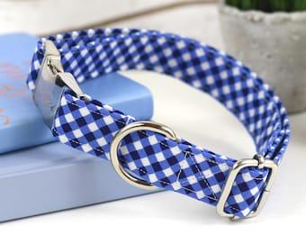 Dog Collar - Blue Gingham Print Cotton - Fabric Collar - Silver Metal Hardware