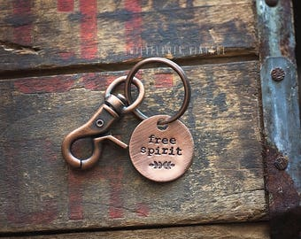 Free Spirit copper key chain | hand stamped gift floral botanical Antiqued Lobster Clasp Metal day dreamer wildflower