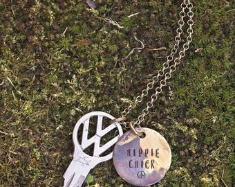 Volkswagen Vintage Key Necklace | Hand Stamped Repurposed Hippie Chick Boho VW Van Gifts for her