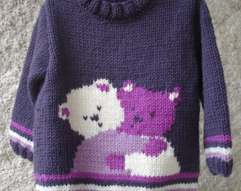Sweater baby & child Teddy entwined 100% knit hand 1 year to 6 years