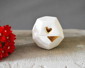 Individual Porcelain Dodecahedron Pot with Gold Embossed Heart (Small)- Matryoshki Universe- Ceramic, Sacred Geometry, Platonic Solid