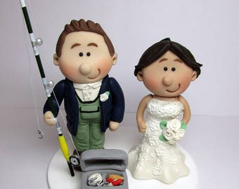 Fisherman Themed Wedding Cake Topper, Personalised Bride And Groom , Custom made to order, wedding