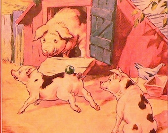 1943 Pigs on the Farm Matted Vintage Print