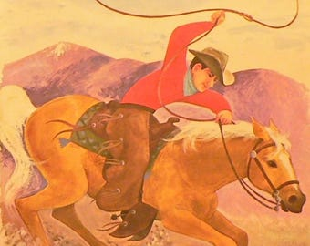 1965 Cowboy Roping from His Horse Matted Vintage Print