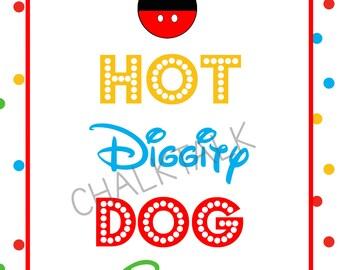 Hot Diggity Dog Bar Sign - Mickey Mouse Sign - Mickey Mouse Chalkboard - Mickey Mouse Party - Digital File - Photo Prop