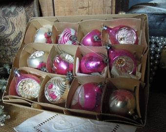 Vintage Box of Ornaments / Fantasia Pink Polish Ornaments / Glass ornaments in Original Box