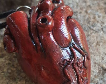 Polymer Clay Anatomical Heart Necklace