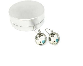 Sleepers cabochons - Rod - glass 12 mm - stainless steel flower earring - hypoallergenic / Flowers earrings - stainless steel