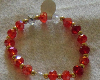 sparkly red faceted rondelle beaded bracelet
