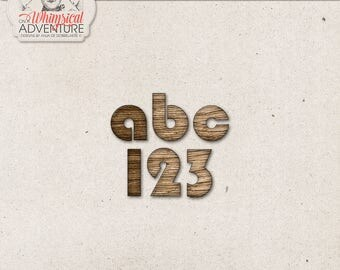 Chunky, Wood Alphabet Letters, Lowercase Alphabet, Wooden Letters and Numbers, Symbols and Punctuation, Alphabet Clipart, Digital Download