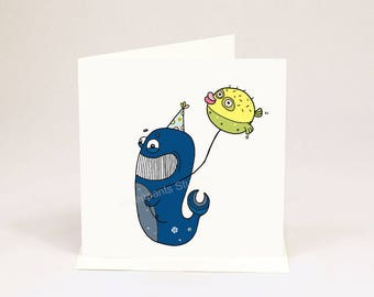 Whale of a Time kids birthday fun greeting card