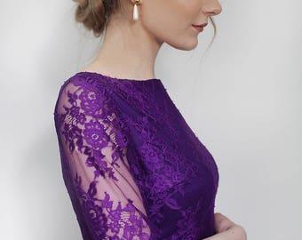 Purple feminine lace dress pleated skirt