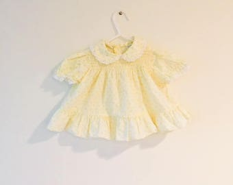 Vintage Yellow Floral Baby Girl Dress / Ruffled Adorable Size 9-12 Months Toddler Dress