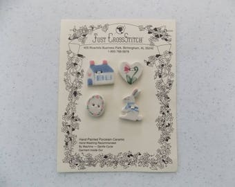 Spring Easter - Hand Painted Porcelain Ceramic Buttons