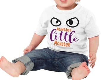 Aunties Little Monster One Piece Bodysuit Toddler Tee T Shirt Creeper Romper Custom Shower Gift Idea Halloween Baby Toddler Infant Funny Dad