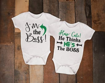 Im The Boss How Cute He Thinks Hes The Boss Twin Set One Piece Bodysuit Romper Creeper T Shirt Tee Cousin Siblings Infant ToddlerCute