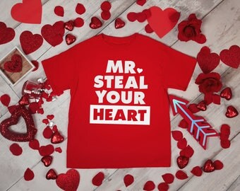 Mr Steal your Heart Boys Valentines Red Rabit Skins 2T 3T 4T Shirt Toddler Kid T Shirt Top Tee T-Shirt Funny Cupid