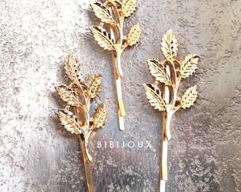 SALE | Three Gold Leaf Bobby Pins | Goldleaf Hairpins Woodland Bridal Leaf Hairpins Goldleaf Botanical Hair Jewelry | Bibijoux
