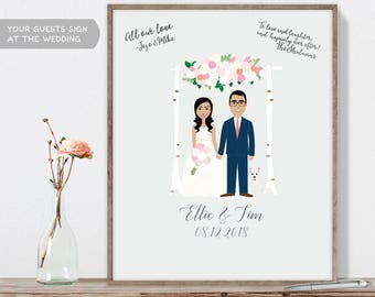 Wedding Guest Book Portrait / Personalized Portrait Guestbook / Floral Arch / Custom Illustration ▷ Printable File {or} Printed & Shipped