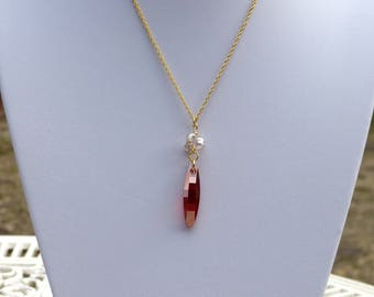 Pendant with chain gold plated Swarovski Crystal orange brick