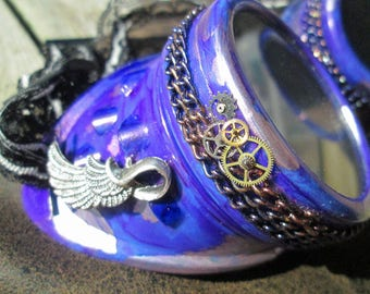 Beautiful Hand Stained Marbled Purple Icharus Wing Steampunk Cosplay Goggles with Chain and Lace Straps