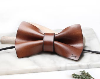 Groomsmen Bow Tie, Groom Bow Tie, Leather Bowtie, Wedding Bow Tie, Brown Leather Bow Tie, Leather Bowtie, Monogram Bow Tie, Pre Tied Bow Tie