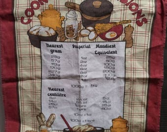 Novelty souvenir Tea Towel - Dish Cloth - Recipe - Cookery Conversion Chart - Pounds and Ounces - Kilograms and Litres