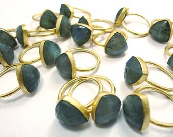1 Labradorite Ring Tri Shape Mate Finish Gold Plated