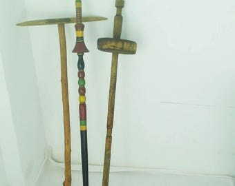 Antique Wooden Set of 3 pcs Tools, Large primitive wooden distaffs, Antique wool distaff, Bulgarian distaff,Wooden spindle,Wooden Wool Rod