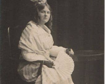 FREE POST - Old Postcard - Edwardian Woman - Real Photo Postcard 1910s  - Vintage Postcard - Unused