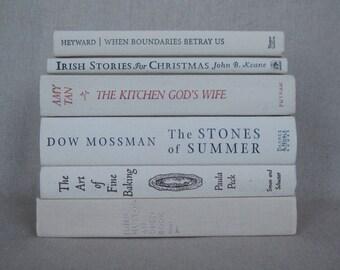 Ivory and Off White Book Bundle, Decorative Book Set, Wedding Books